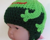 frog beanie with earflaps for baby 3-6 months