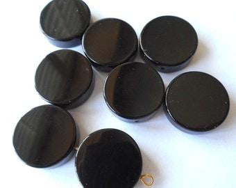 5pcs- 20mmX5mm black Onyx gemstone coin beads,  beads set