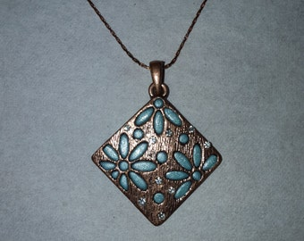 """Copper necklace with Blue Polymer Clay on Copper 18"""" chain"""