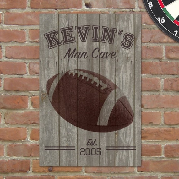 Personalized Sports Man Cave Signs : Personalized football man cave sign printed beer