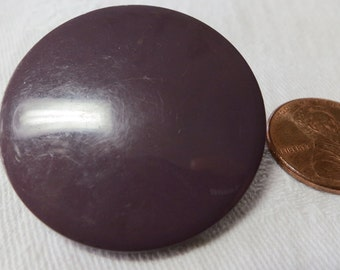 """2 Large 1.3"""" inches, plum purple plastic coat buttons. Self shank, slight dome, washable. Great for knitting, crochet, crafts. THD11.8-5."""