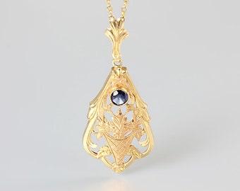 Art Deco Sapphire Necklace, Antique 10K gold Necklace, Esemco Rose gold Necklace