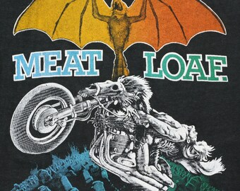 Meat Loaf Shirt 1977 Vintage Tshirt Bat Out Of Hell Metal Rock Rare Tee 1970s S