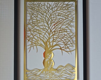 50th Anniversary FAMILY TREE Gift Custom Order for R. in Gold Silhouette Paper Cut W/Names of both Families ORIGINAL Design Framed OOaK