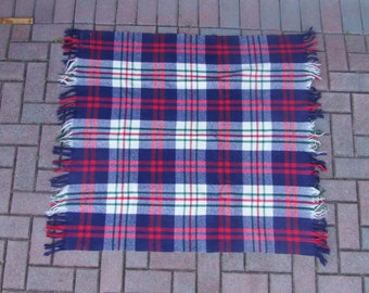 Vintage Quiltex Pram 100% Pure Wool Red Ivory Blue and Green Plaid Wool Robe Blanket Made in USA