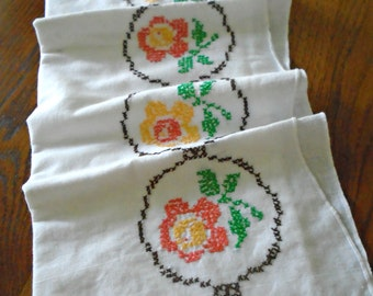 Embroidered Floral Pillowcase / Hand Embroidered / Orange Flowers / Yellow Flowers / Cross Stitched / Vintage Pillowcase / White Cotton