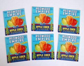 Vintage Redwood Empire Apple Cider Bottle Jug Fruit Crate Labels - 1950's  - Lot of 12 Original Labels - New Never Used - Graton California