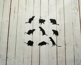 Vinyl Wall Decal Rats Halloween