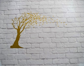 Vinyl Wall Decal Gold Autumn Tree Blowing Leaves
