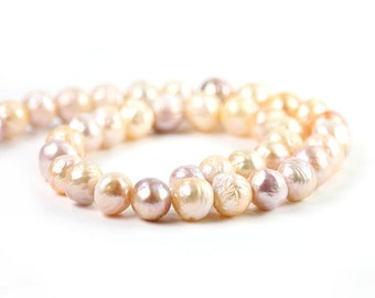 Nucleated Freshwater Pearls 4 Kasumi Like Near Round Pink Peach Lavender Freshwater Pearls Semi Precious Pearls June Birthstone