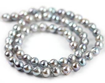 Akoya Flameball Near Round Silver Saltwater Pearls 4 Semi Precious Pearls June Birthstone