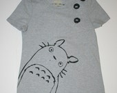 My Neighbor Totoro - Womens Medium Gray Shirt - Cat Bus and Soot Sprites