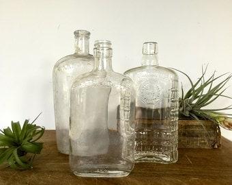 Vintage set of 3 flasks