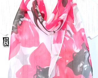 Hand Painted Silk Scarf, Pink Silk Scarf, Silk Chiffon Scarf, Pink and Black Tropical Zen Orchids Scarf, Silk Scarves Takuyo, 8x54 inches.
