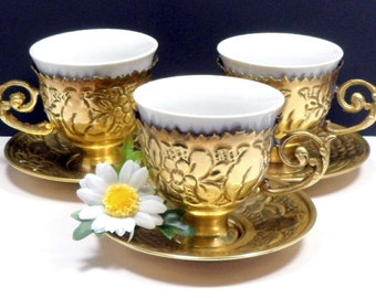 Turkish Demitasse Coffee Cups Vintage Kutahya White Porcelain Embossed Metal Holder Porselen Ottoman Style