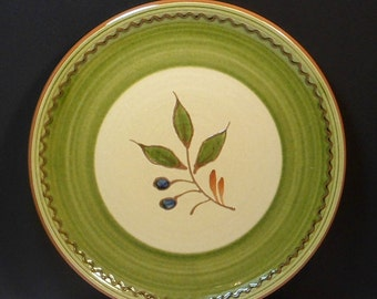 Ceramic Dinner Plate Olive Branch Molde Portugal 9 Inch Plate Yellow Green Vintage 1970s