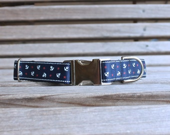 Personalized Dog Collar, Nautical Dog Collar with Metal Buckle