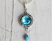 Blue Glass Pendant, Blue Necklace, Hand Crafted, Michelle Meyer, Swarovski Charm, Necklace, Jewelry, Pendant