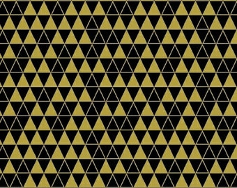Bold and Gold - Triangle Grid Black by Ampersand Design Studio from Windham Fabrics