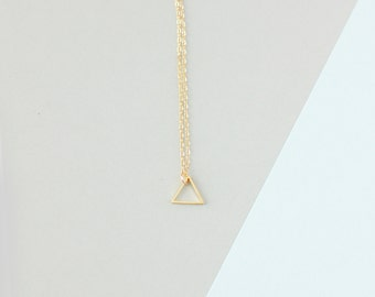 Small Single Gold Triangle Necklace - Minimalist Jewellery