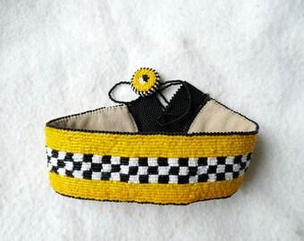 Beaded Collar TAXI Choker Necklace by Tropicalkaren Handmade Bead Embroidery
