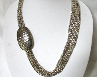 Large Silver Multi Chain, Medallion Necklace, beaded, Excellent