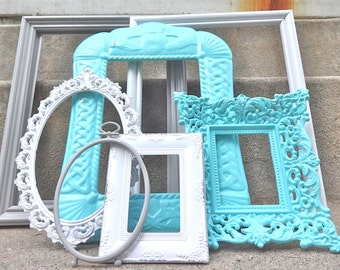 Gray White And Blue Green Ornate Picture Frame Set Open Oval Wedding Collection