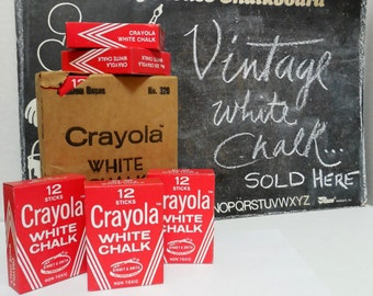Vintage NEW/OLD Stock - White Chalk, Binney & Smith,12 Sticks Crayola White Chalk, for Display, Chalkboard Writing, Vintage Display Chalk