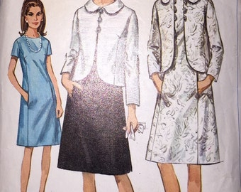 1960's Simplicity Pattern 6798 - Misses' Dress and Jacket Size 12 Bust 32