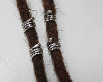 4 tiny snake dread beads - beads for dreadlocks - dreadlock accessory - dread jewelry hole 5 mm