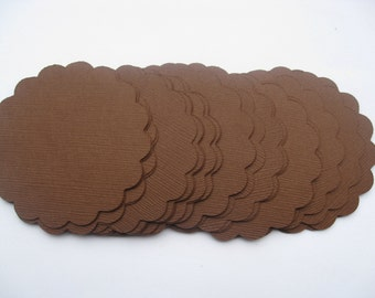 25 Scalloped Circles. 3 inch. CHOOSE YOUR COLORS. Wedding, Gft, Scrapbooking, Favor, Cupcake, Top Notes.