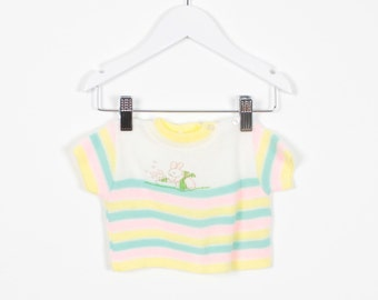 Vintage 70s Baby Girl Sweater Pastel Yellow Pink Teal Cropped Knit Tshirt Bunny Rabbit Screen Print 1970s Blouse Hippie Top 0 3 6 Months