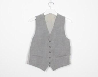 Vintage YSL Vest Gray Button Front Yves Saint Laurent Vest Menswear Suit Waistcoat Unlined Signed Designer Vest Shirt Top M Medium L Large
