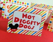 8 Mickey Mouse Clubhouse Printed Food Label Tent Cards - Placecards