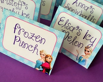 8 Frozen Personalized and Printed Food Label Tent Cards - Placecards