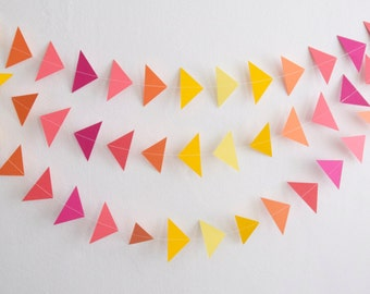 Ombre Triangle Garland, Paper Triangle Garland, Triangle Garland, Triangle Bunting, Paper Garland, Birthday Garland, Party Decor, Wall Decor