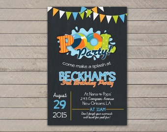 Summer Pool Party Birthday Invitation // Digital or Printed (FREE SHIPPING!)