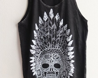 Indian Chief Skull and Feathers Stone wash Tank Top M