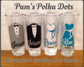 Personalized WEDDING SHOT GLASS with Dress or Tuxedo for Bride Groom Bridesmaid Groomsman Party