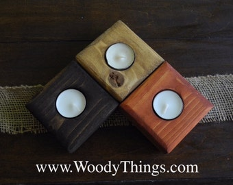 Wooden Tea Light Candle Holders, Individual