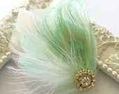 Bride Bridesmaid Feather Hair Accessory, Feather Fascinator, Bridal, Hair PIece,Peacock, Mint, White Feather, Hair Clip