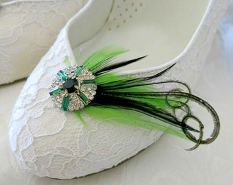 Elegant Bridal Bridemaid Feathered Feather Shoe Clips Rhinestone Accents Green Black Set of 2