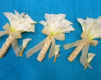 WHITE CALLA LILY Bouquet. Bride Bridal Bridesmaid True Touch Callas. Real Touch Silk Flowers Art Deco Barn Boho Destination Beach Wedding