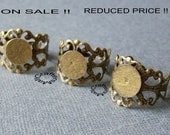 SALE! Reduced price!  25 pcs Bronze filigree ring blanks/Filigree ring blank with 10mm pad for glue