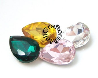 Vintage Glass Rhinestones,Faceted Drop Rhinestones/Glass Tear Drop Jewels/Foiled Back  Vintage Glass Jewels, Glass Jewel Stones,