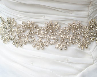SALE REBA Crystal wedding bridal beaded sash , belt