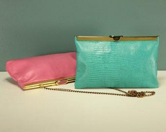 Choice of Italian Leather AQUA Turqoise Hot Pink Bright Textured Snake Skin BLUE Clutch Purse Hand Bag Retro Mod Modern Minimalist Evening