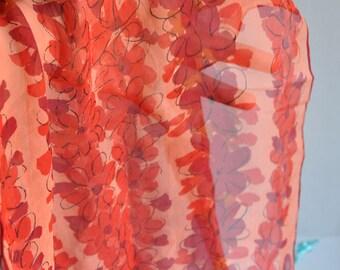 """Vera Neumann - Long Chiffon """"Red Flower"""" Ladybug Silk Scarf"""
