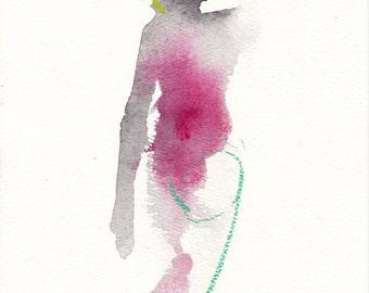 "Femme 159 original figure gesture watercolor and pastel 7.5"" x 10.5"" Unframed"
