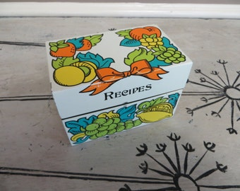 Recipe Box Recipe Holder Retro Kitchen Retro Decor Colorful Kitchen Kitchen Box Storage Tin Recipe Tin